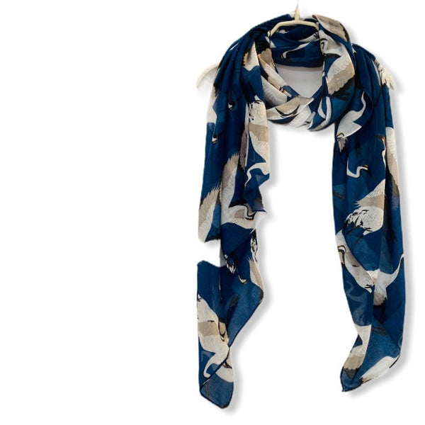 Flying Heron Birds Blue Cotton Scarf/Scarf Women/Summer Autumn Scarf/Gifts For Her/Gifts For Mother/Birthday Gifts/Christmas Gifts