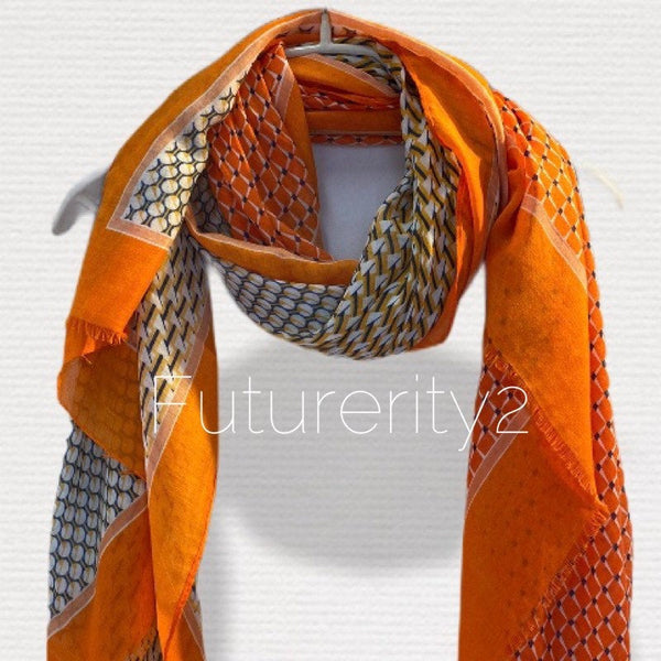 Modern Tiles Pattern Orange Cotton Scarf/Spring Summer Scarf/Gifts For Mom/Gifts For Her/Scarf Women/Birthday Gifts/Christmas Gifts