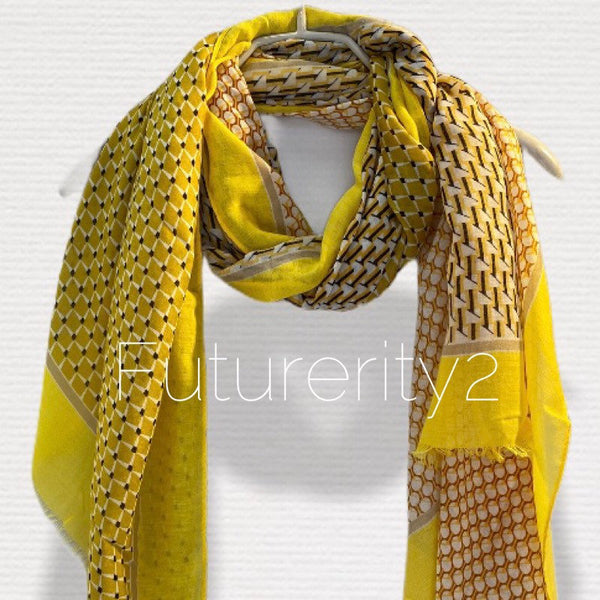Modern Tiles Pattern Yellow Cotton Scarf/Spring Summer Scarf/Gifts For Mom/Gifts For Her/Scarf Women/Birthday Gifts/Christmas Gifts