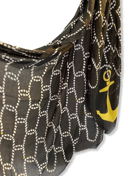 Anchor With Chain Pattern Black Cotton Scarf