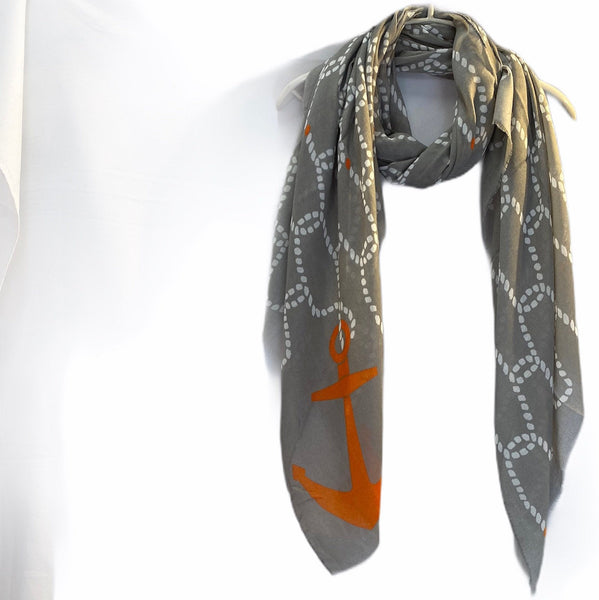 Anchor With Chain Pattern Grey Cotton Scarf/Spring Summer Autumn Scarf/Gifts For Mom/Gifts For Her Birthday/Scarf Women/Christmas Gifts