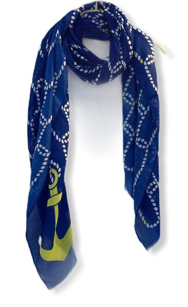 Anchor With Chain Pattern Blue Cotton Scarf/Spring Summer Autumn Scarf/Gifts For Mom/Gifts For Her Birthday/Scarf Women/Christmas Gifts