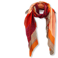 Vector Small Paisley Red Orange Cotton Scarf/Spring Summer Autumn Scarf/Gifts For Mom/Scarf Women/Gifts For Her Birthday/Christmas Gifts