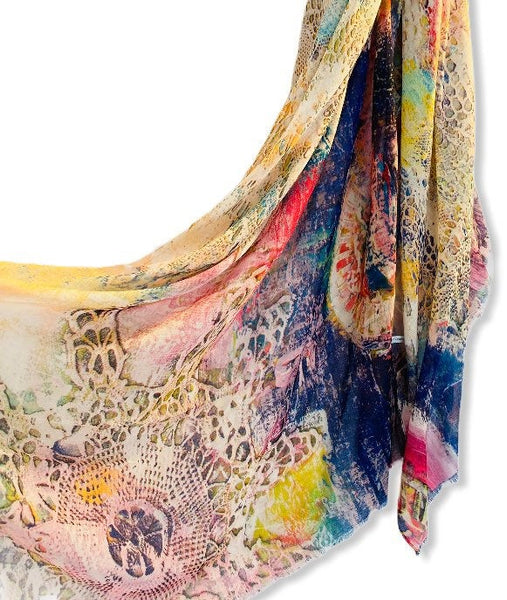 Snakeskin Abstract Pattern Pink Cotton Scarf/Scarf Women/Spring Summer Autumn Scarf/Gifts For Mom/Gifts For Her Birthday/Christmas Gifts