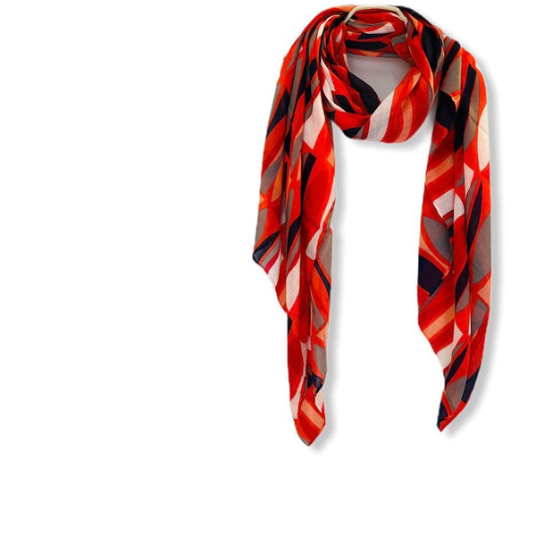 Seamless Geo Pattern Red Cotton Scarf/Spring Summer Autumn Scarf/Gifts For Her/Gifts For Mum/Scarf Women/Birthday Gifts/Christmas Gifts