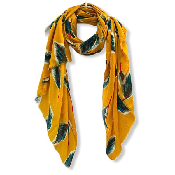 Floating Leafs Mustard Yellow Cotton Scarf/Spring Summer Autumn Scarf/Gifts For Mother/Gifts For Her Birthday/Scarf Women/Christmas Gifts