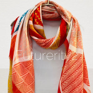 Geo Leafs Pattern Red Orange Cotton Scarf/Spring Summer Autumn Scarf/Scarf Women/Gifts For Mom/Gifts for Her Birthday/Christmas Gifts