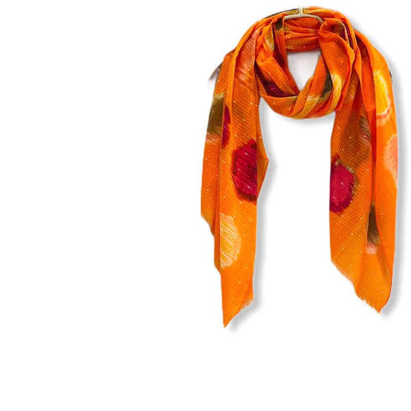 Watercolour Large Polka Dots Pattern Orange Cotton Scarf/Spring Summer Autumn Scarf/Scarf Women/Gifts For Mom/Gifts For Her Birthday