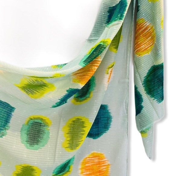Watercolour Large Polka Dots Pattern Light Green Cotton Scarf/Spring Summer Autumn Scarf/Scarf Women/Gifts For Mom/Gifts For Her Birthday