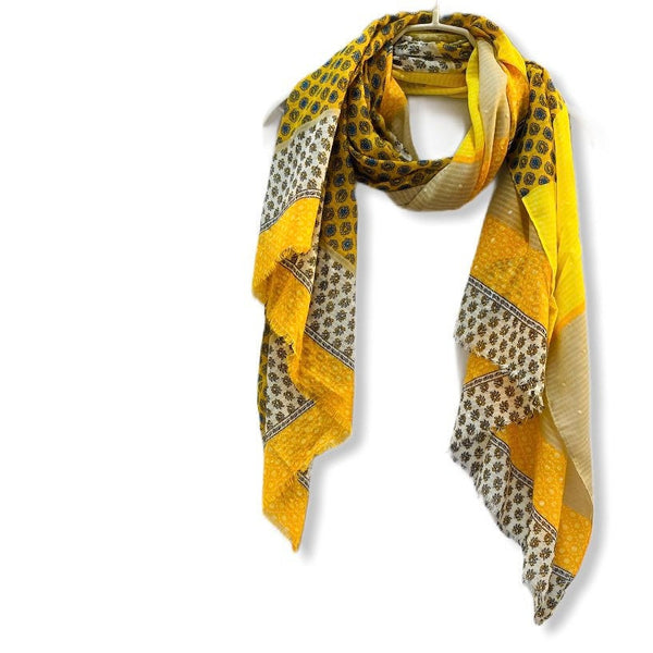 Vector Small Paisley Yellow Beige Cotton Scarf/Spring Summer Autumn Scarf/Gifts For Mom/Scarf Women/Gifts For Her Birthday/Christmas Gift