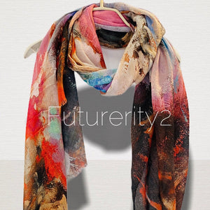 Watercolour Abstract Pattern Pink  Cotton Scarf/Scarf Women/Spring Summer Autumn Scarf/Gifts For Mom/Gifts For Her Birthday/Christmas Gifts