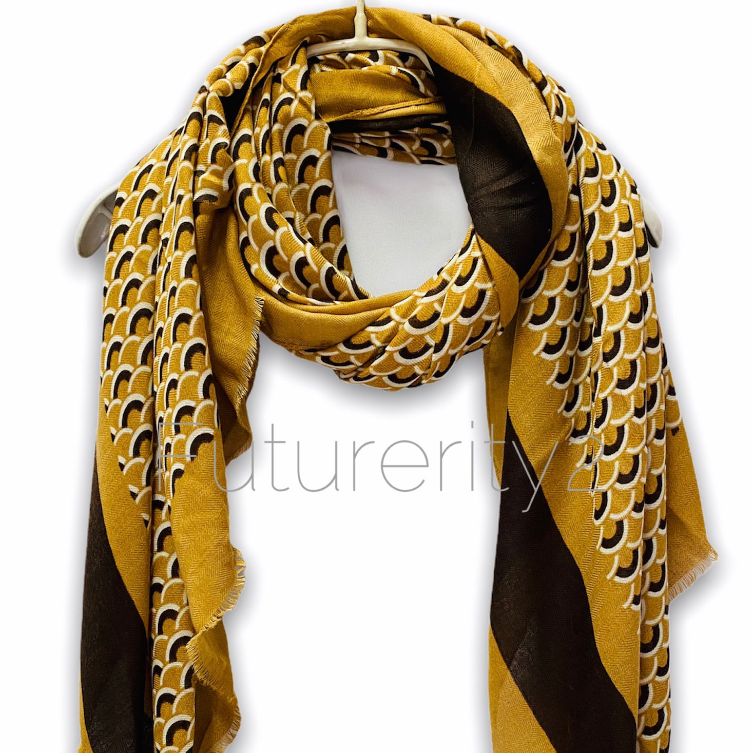 Fish Scale Pattern With Black Trim Yellow Cotton Scarf