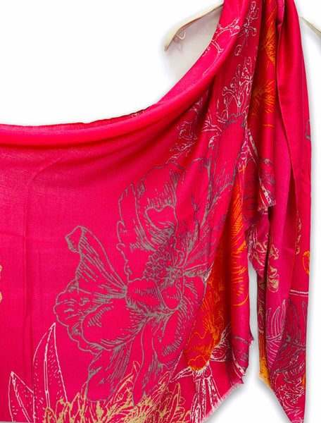 Huge Sketched Flowers Yellow Grey Pink Cotton Scarf