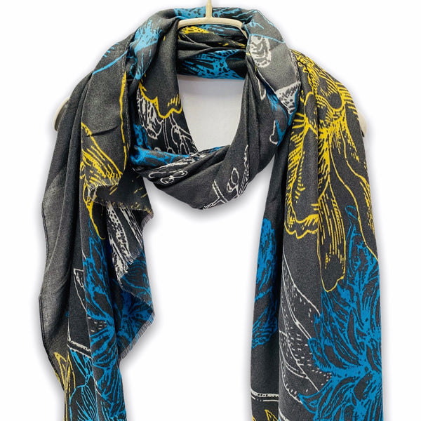 Sketched Yellow Blue Flowers Grey Cotton Scarf/Spring Summer Autumn Scarf/Gifts For Mom/Gifts For Her/Scarf Women/Christmas Birthday Gifts
