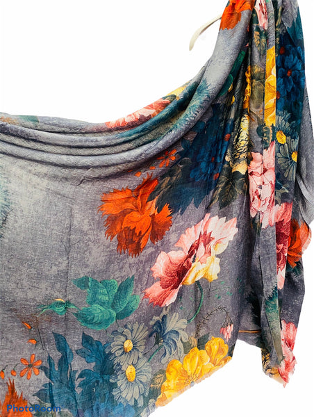 Vintage Peony Flowers Grey Cotton Scarf/Spring Summer Autumn Scarf/Gifts For Her/Scarf Women/Gifts For Mom/Christmas Gifts/Birthday Gifts
