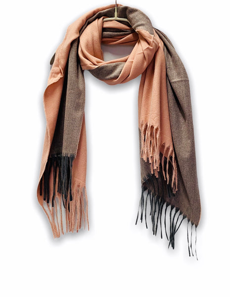 Two Toned Pink Brown Cashmere Scarf/Autumn Winter Scarf/Gifts For Mother/Gifts For Her/Scarf Women/Plain Scarf/Christmas Birthday Gifts