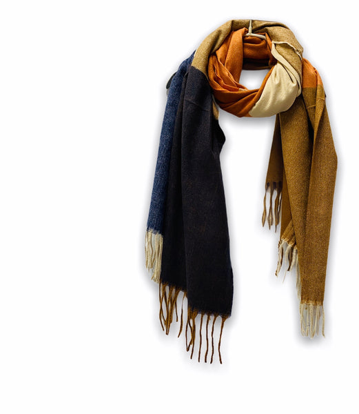 Rectangular Panels Pattern Orange Brown Blue Cashmere Scarf/Autumn Winter Scarf/Gifts For Mother/Gifts For Her/Scarf Women/Birthday Gifts