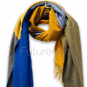 Rectangular Panels Pattern Blue Yellow Brown Cashmere Scarf/Autumn Winter Scarf/Gifts For Mother/Gifts For Her/Scarf Women/Birthday Gifts