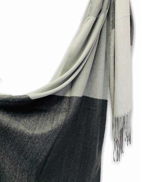 Rectangular Panels Pattern Grey Black Cashmere Scarf/Autumn Winter Scarf/Gifts For Mother/Gifts For Her/Scarf Women/Christmas Birthday Gifts