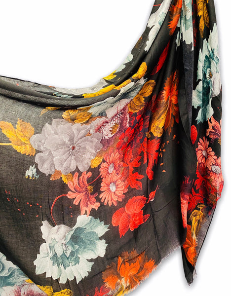Vintage Peony Flowers Black Cotton Scarf/Spring Summer Autumn Scarf/Gifts For Her/Scarf Women/Gifts For Mom/Christmas Gifts/Birthday Gifts