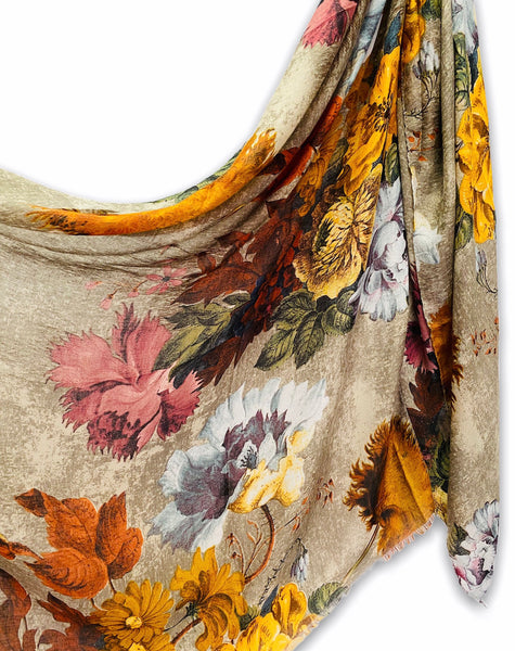 Vintage Peony Flowers Beige Cotton Scarf/Spring Summer Autumn Scarf/Gifts For Her/Scarf Women/Gifts For Mom/Christmas Gifts/Birthday Gifts