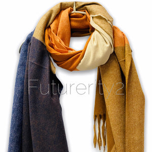 Rectangular Panels Pattern Orange Brown Blue Cashmere Autumn Winter Scarf