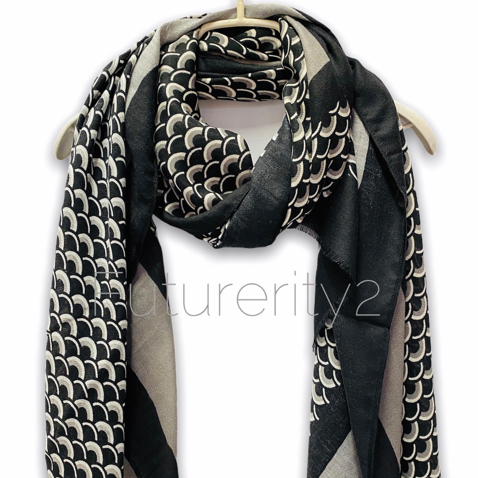 Fish Scale Pattern With Grey Trim Black Cotton Scarf