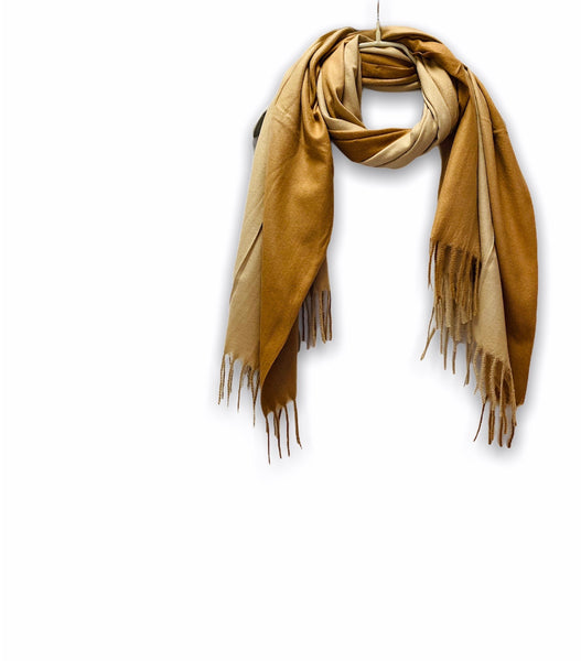 Two Toned Brown Beige Cashmere Scarf/Autumn Winter Scarf/Gifts For Mother/Gifts For Her/Scarf Women/Plain Scarf/Christmas Birthday Gifts