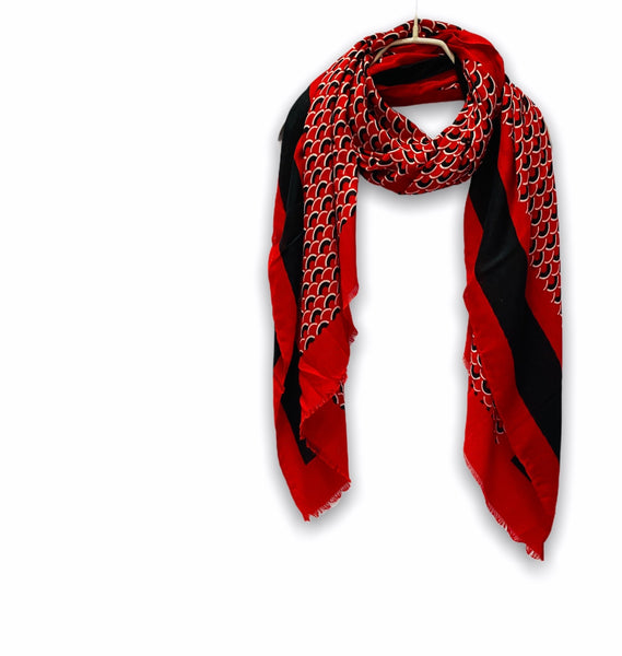 Fish Scale Pattern With Black Trim Red Cotton Scarf/Spring Summer Autumn Scarf/Gifts For Mom/Gifts For Her/Scarf Women/Birthday Gifts