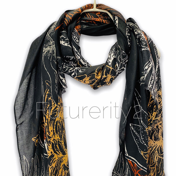 Sketched Yellow Orange Flowers Black Cotton Scarf/Spring Summer Autumn Scarf/Gift For Mom/Gift For Her/Scarf Women/Christmas Birthday Gift