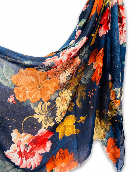 Vintage Peony Flowers Blue Cotton Scarf/Spring Summer Autumn Scarf/Gifts For Her/Scarf Women/Gifts For Mom/Christmas Gifts/Birthday Gifts