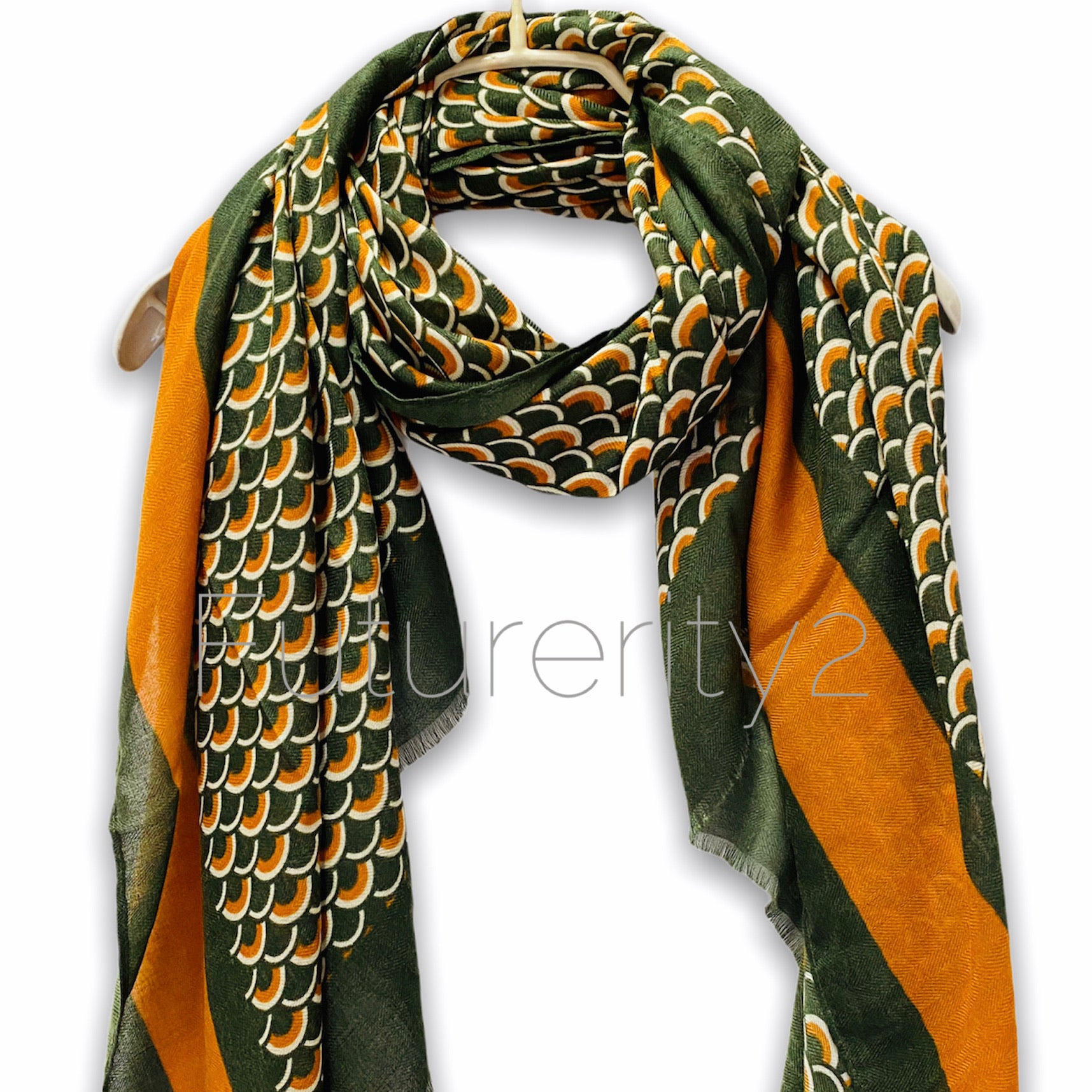 Fish Scale Pattern With Brown Trim Green Cotton Scarf