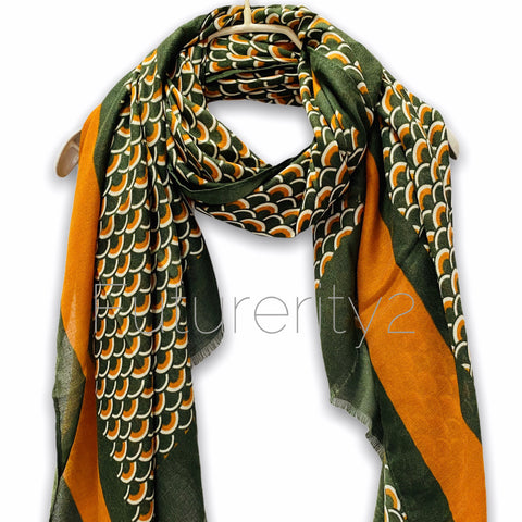Fish Scale Pattern With Brown Trim Green Cotton Scarf/Spring Summer Autumn Scarf/Gifts For Mom/Gifts For Her/Scarf Women/Birthday Gifts
