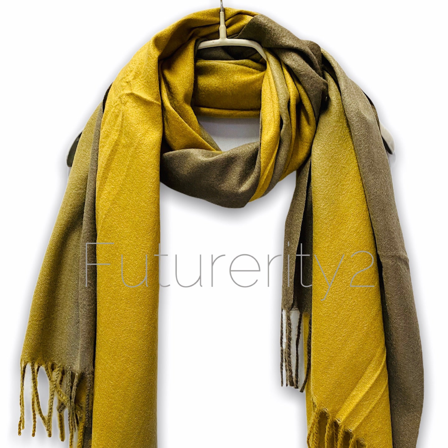 Two Toned Brown Mustard Yellow Scarf/Cashmere Scarf/Autumn Winter Scarf/Gifts For Mother/Gifts For Her/Scarf Women/Plain Scarf/Birthday Gift