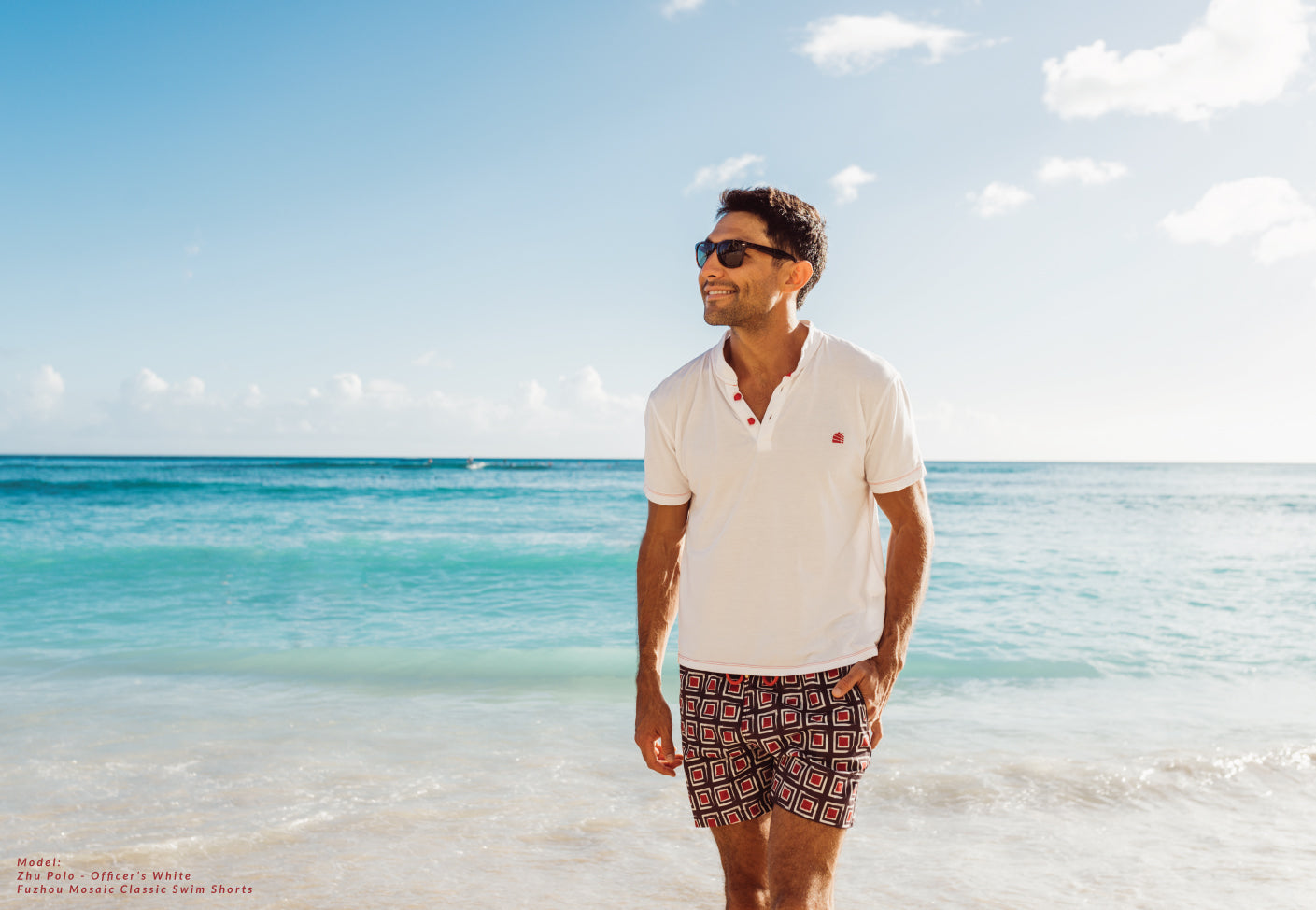 Bamboo White Polo in Swim Short on the beach
