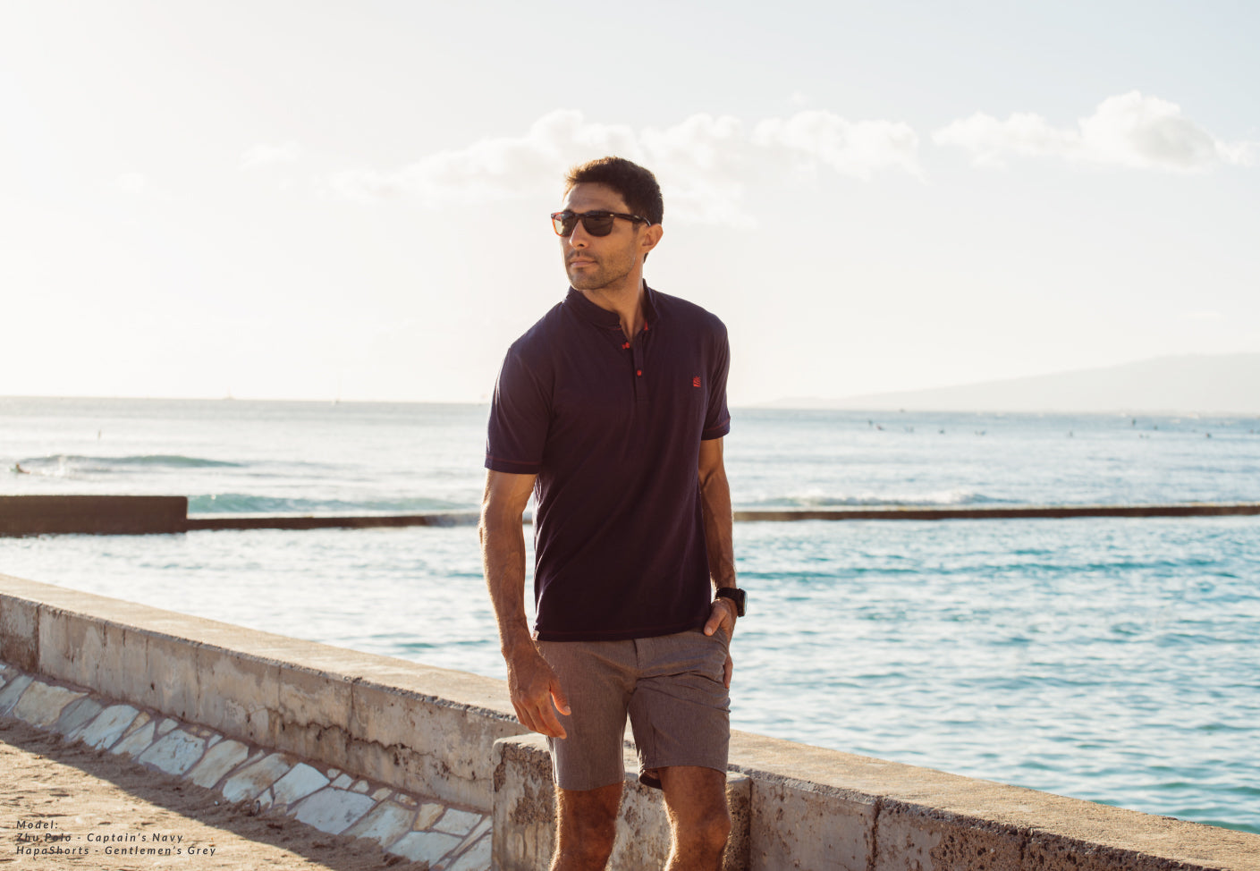 Bamboo Polo shirt Cpatains Navy with hapashorts Gentlemen's grey