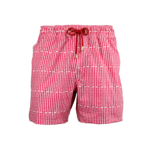 Mazu Resortwear Classic Swim Shorts | Yulong River Cruise | Bamboo Pinstripe Design