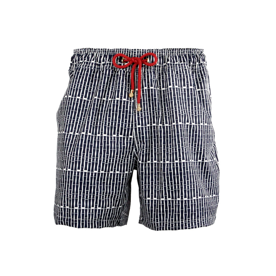 Mazu Resortwear Classic Swim Shorts | Guilin Rafting | Bamboo Pinstripe Design
