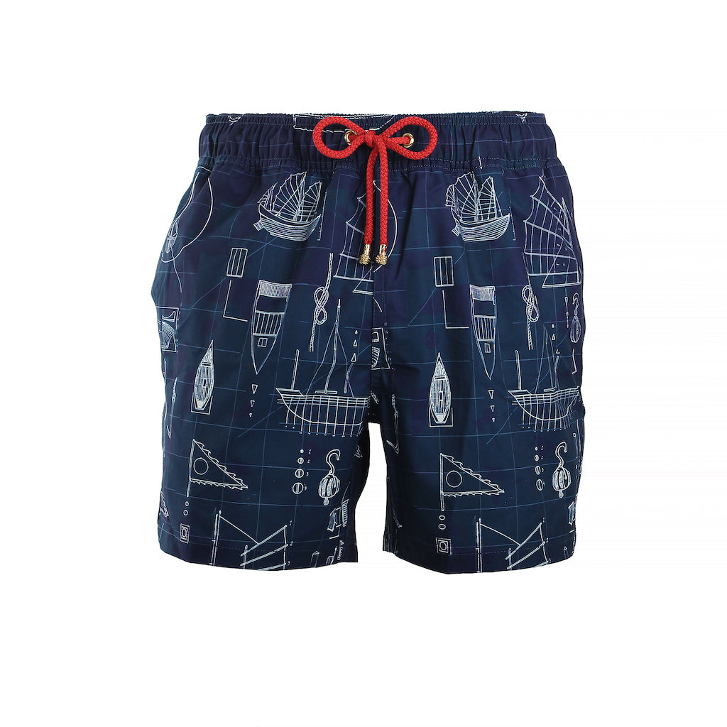 Mazu Resortwear Classic Swim Shorts | Keying Blueprint | Junk Boat Design