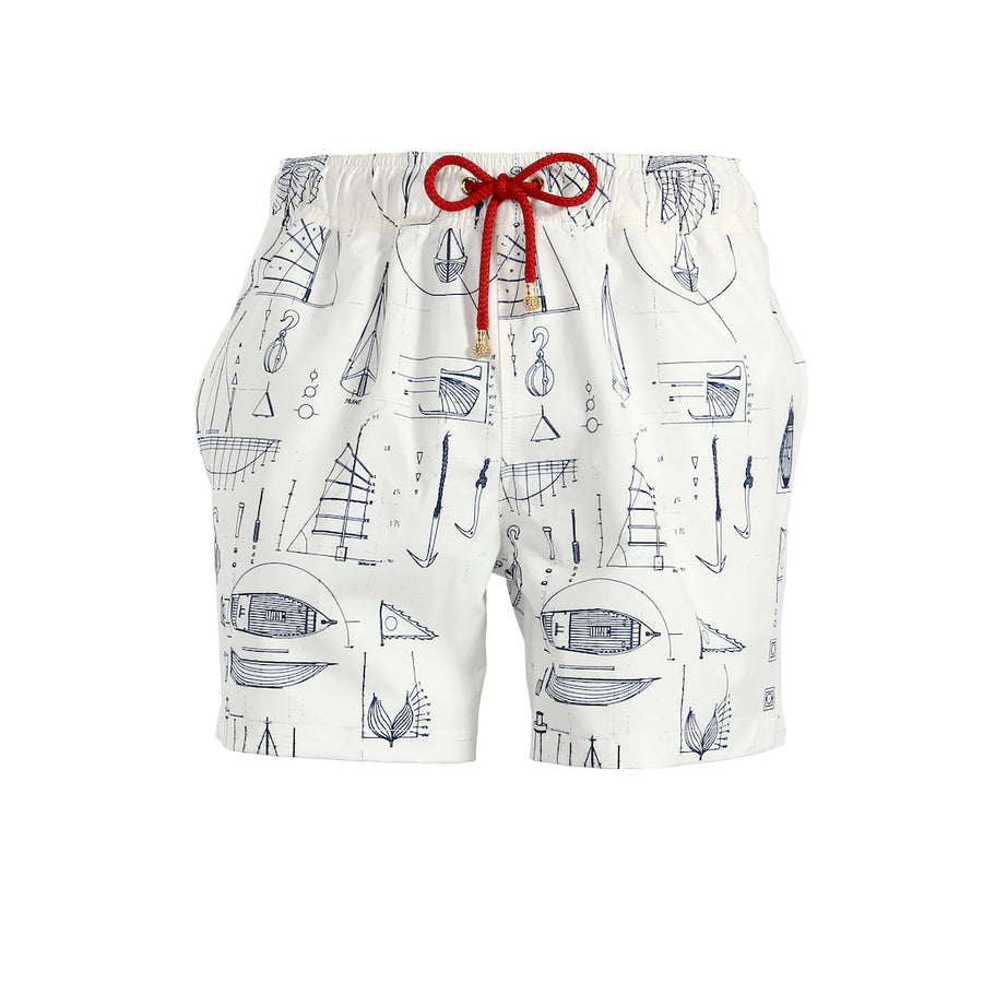 Mazu Resortwear Classic Swim Shorts | White Keying | Junk Boat Design
