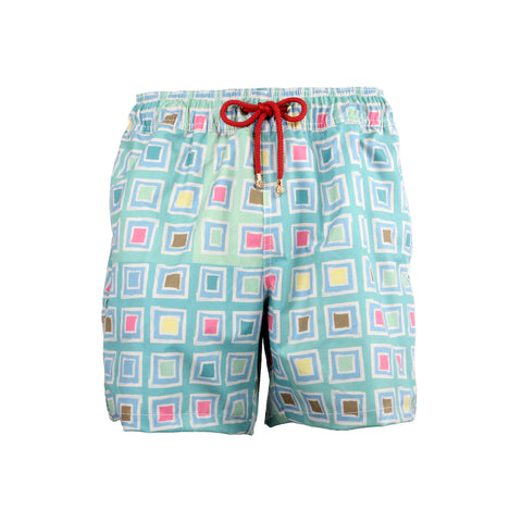 Mazu Resortwear Classic Swim Shorts | Summer Voyage | Asian Mosaic Design