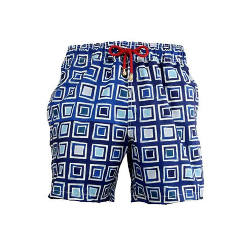 Mazu Resortwear Classic Swim Shorts | Big Blue | Asian Mosaic Design