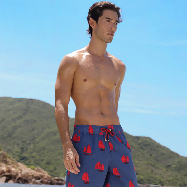 Mazu Resortwear Classic Swim Shorts | Junk Twilight | Junk Boat Design