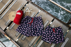 Inspired by Origami Boats, Mazu Resortwear is a luxury kid's swim shorts and trunks swimwear brand inspired by Asian maritime history with attention to High Quality and Comfort, perfect for matching father and son together.