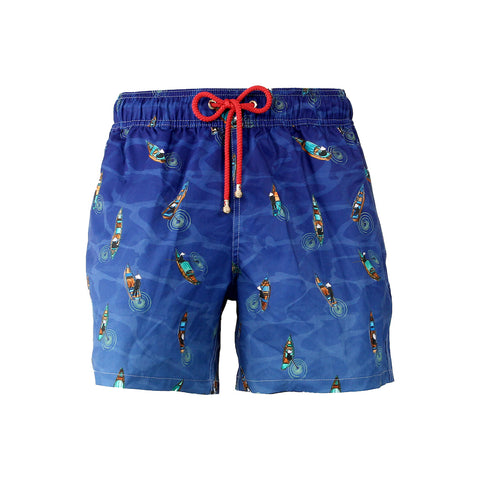 Mazu Resortwear Classic Swim Shorts | Sampans At Night | Sampan Design