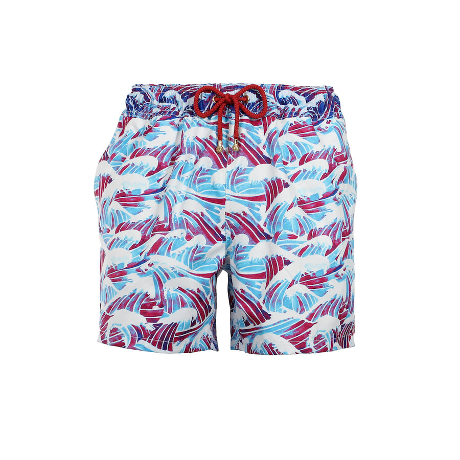 Mazu Resortwear Classic Swim Shorts | South China Sea | Wave Design