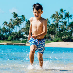 Mazu Resortwear Classic Swim Shorts | Pacific Ocean | Wave Design