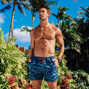 Mazu Resortwear Classic Swim Shorts | Philippine Sea | Wave Design