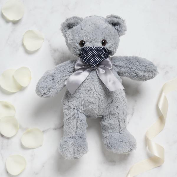 Grey Teddy with Mask (28cm height) | Fabulous Flowers
