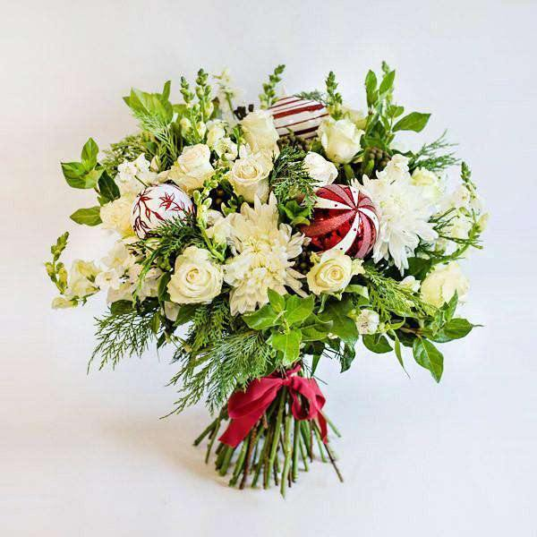 White, Silver & Red Bauble Bouquet - Fabulous Flowers Cape Town Flower Delivery